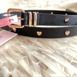 New Juicy Couture Heart stud Black Belt M/L